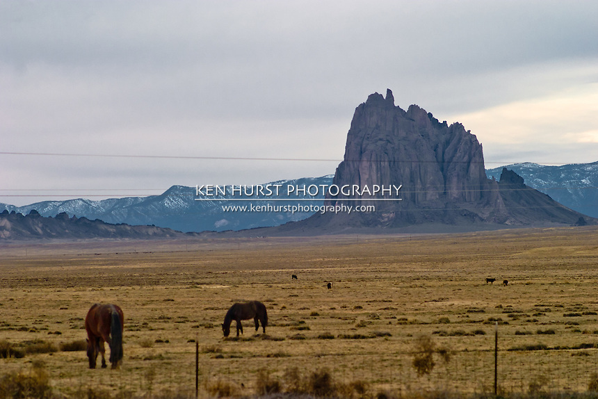 Shiprock Pinnacle or Peak, also known as Tse Bit' a'i in Navajo on the Navajo Nation in New Mexico, with horses grazing in nearby fields.