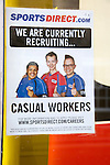 Sports Direct shop employment poster recruiting casual workers, England, UK