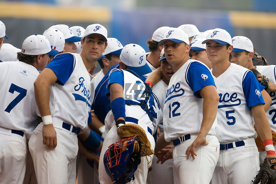 20 August 2007: Team France gather prior to the Czech Republic 6-1 victory over France in the Good Luck Beijing International baseball tournament (olympic test event) at the Wukesong Baseball Field in Beijing, China.