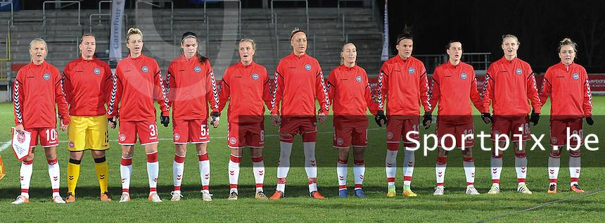 20161128 - TUBIZE ,  BELGIUM : Danish team with Stina Lykke Petersen (1)   Janni Arnth Jensen (3)   Simone Boye Sorensen (5)   Julie Trustup Jensen (6)   Sanne Troelsgaard (7)   Theresa Nielsen (8)   Pernille Harder (10)   Katrine Veje (11)   Johanna Rasmussen (13)   Mie Leth Jans (18)   Nanna Christiansen (20)    pictured during the female soccer game between the Belgian Red Flames and Denmark , a friendly game before the European Championship in The Netherlands 2017  , Monday 28 th November 2016 at Stade Leburton in Tubize , Belgium. PHOTO SPORTPIX.BE   DIRK VUYLSTEKE
