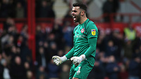 Brentford goalkeeper, David Raya, celebrates their victory at the final whistle during Brentford vs Queens Park Rangers, Sky Bet EFL Championship Football at Griffin Park on 11th January 2020