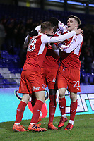 GOAL - Fleetwood Town's Devante Cole celebrates scoring the opening goal with team-mate during the Sky Bet League 1 match between Oldham Athletic and Fleetwood Town at Boundary Park, Oldham, England on 26 December 2017. Photo by Juel Miah / PRiME Media Images.
