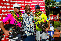 The 2003 Quiksilver Pro Fiji was won by current world surfing champion, Hawaiian Andy Irons. Florida surfer Cory Lopez finished runner up. Chief Druka is with the good friends at the presentation. Photo: joliphotos.com