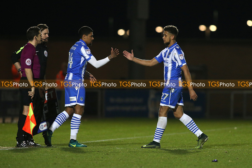 Alex Wynter of Colchester United replaces Rekeil Pyke during Colchester United vs Mansfield Town, Sky Bet EFL League 2 Football at the Weston Homes Community Stadium on 14th March 2017