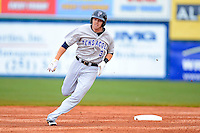 Pensacola Blue Wahoos outfielder Bryson Smith #3 runs the bases during a game against the Mobile BayBears on April 14, 2013 at Hank Aaron Stadium in Mobile, Alabama.  Mobile defeated Pensacola 5-2.  (Mike Janes/Four Seam Images)