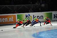 SCHAATSEN: DORDRECHT: Sportboulevard, Korean Air ISU World Cup Finale, 12-02-2012, Final B 500m Men, Guillaume Bastille CAN (6), Qiuwen Gong CHN (12), Niels Kerstholt NED (61), Paul Herrmann GER (28), ©foto: Martin de Jong