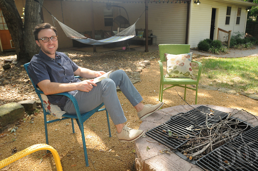NWA Democrat-Gazette/FLIP PUTTHOFF<br /> Brock Short enjoys spending time    Sept. 8 2015 at his back-yard campfire area or relaxing in his hammock.