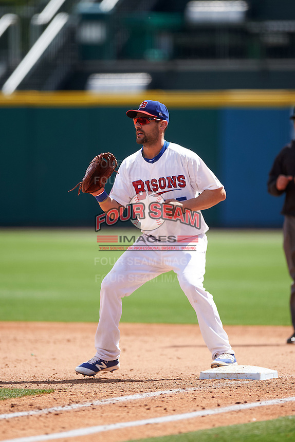 Buffalo Bisons first baseman Casey Kotchman (55) during a game against the Toledo Mudhens on May 18, 2016 at Coca-Cola Field in Buffalo, New York.  Buffalo defeated Toledo 7-5.  (Mike Janes/Four Seam Images)