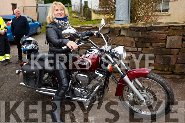 Martina Flynn with her Yamaha motorbike attending the James Ashe Memorial Tractor Run at the Anvil Bar, Boolteens on Sunday last.