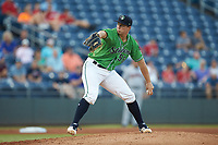 Gwinnett Stripers starting pitcher Tucker Davidson (56) in action against the Scranton/Wilkes-Barre RailRiders at BB&T BallPark on August 16, 2019 in Lawrenceville, Georgia. The Stripers defeated the RailRiders 5-2. (Brian Westerholt/Four Seam Images)