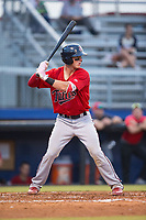 Andrew Cosgrove (4) of the Elizabethton Twins at bat against the Danville Braves at American Legion Post 325 Field on July 1, 2017 in Danville, Virginia.  The Twins defeated the Braves 7-4.  (Brian Westerholt/Four Seam Images)