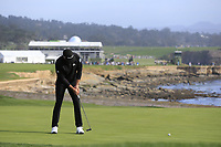 Dustin Johnson (USA) birdie putt on the 18th green during Saturday's Round 3 of the 2018 AT&amp;T Pebble Beach Pro-Am, held over 3 courses Pebble Beach, Spyglass Hill and Monterey, California, USA. 10th February 2018.<br /> Picture: Eoin Clarke | Golffile<br /> <br /> <br /> All photos usage must carry mandatory copyright credit (&copy; Golffile | Eoin Clarke)