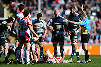 Matt Kvesic of Gloucester Rugby concedes a penalty. Aviva Premiership match, between Leicester Tigers and Gloucester Rugby on April 2, 2016 at Welford Road in Leicester, England. Photo by: Patrick Khachfe / JMP
