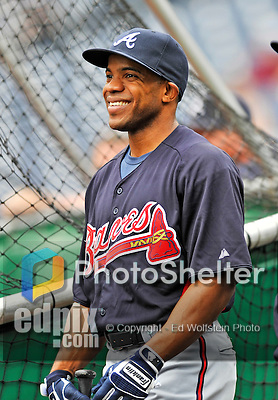 24 September 2011: Atlanta Braves outfielder Antoan Richardson awaits his turn in the batting cage prior to a game against the Washington Nationals at Nationals Park in Washington, DC. The Nationals defeated the Braves 4-1 to even up their 3-game series. Mandatory Credit: Ed Wolfstein Photo