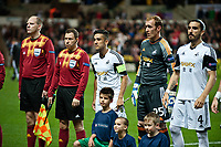Thursday 24 October 2013  <br /> Pictured: Neil Taylor, Gerhard Tremme and Chico Flores pre Match <br /> Re:UEFA Europa League, Swansea City FC vs Kuban Krasnodar,  at the Liberty Staduim Swansea