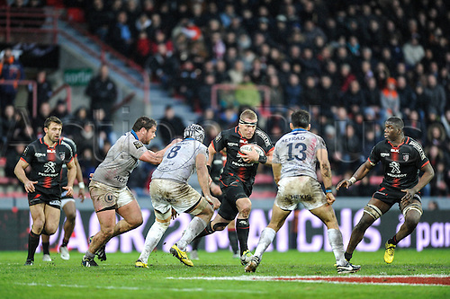 28.02.2016. Toulouse, Frace. Top14 rugby union league, Toulouse versus Montpellier.  Try scored by Luke Mc Alister (st)