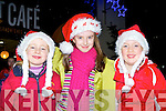 Emma O'Connell, Leah O'Connor and Aisling O'Donoghue getting into the Xmas spirit at the Christmas in Killarney parade on Friday night......