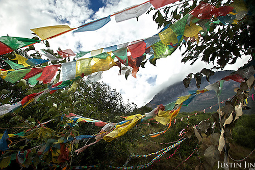 Prayer flags at the legendary Lugu Hu Lake in Sichuan Province, southwestern China.