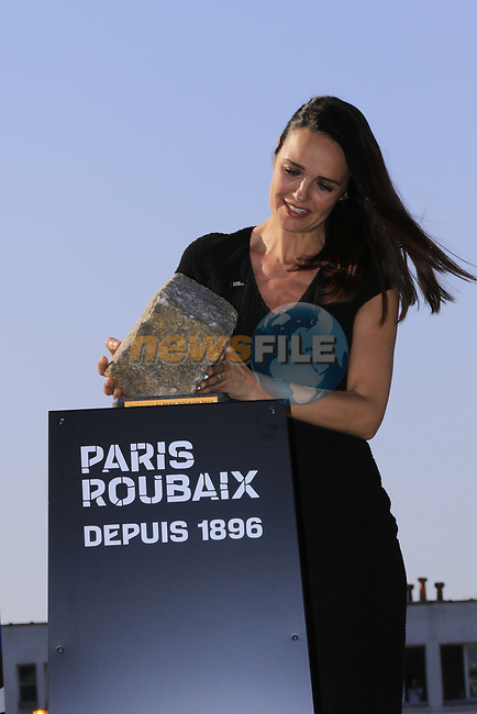 The winners trophy being brought to the podium at the end of the 115th edition of the Paris-Roubaix 2017 race running 257km from Compiegne to Roubaix, France. 9th April 2017.<br /> Picture: Eoin Clarke | Cyclefile<br /> <br /> <br /> All photos usage must carry mandatory copyright credit (&copy; Cyclefile | Eoin Clarke)