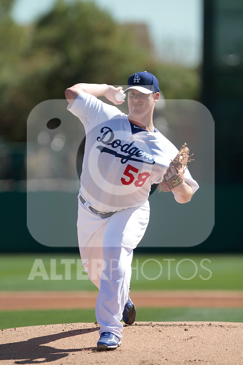 Chad Billingsley     of Los Angeles Dodgers,during Cactus League ,Cubs vs Dodgers. Spring Trainig 2013..Camelback Ranch  in Arizona. February 25, 2013 ...© stringer/NortePhoto