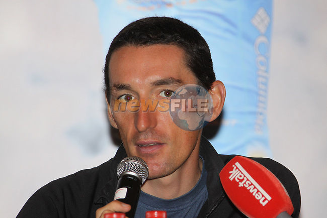 Defending champion Marco Pinotti (ITA) Columbia High Road at the press conference before the start of the 2009 Tour of Ireland, held in the Ritz-Carlton Hotel Powerscourt, Enniskerry to Waterford, Ireland. 20th August 2009.<br /> (Photo by Eoin Clarke/NEWSFILE)