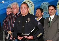 Phoenix PD Sergeant Tommy Thopson (Public Affairs Bureau) Speaking at the fourth annual Stop Random Gunfire Press Conference in Phoenix, AZ, on this Wednesday, December 29, 2010. .Photo by AJ Alexander/AJAimages