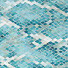 Waterweb, a hand-cut glass mosaic shown in Tanzanite, Chrysocolla, Alexandrite, Feldspar, Aquamarine, Absolute White, Opal, Moonstone, Serpentine, Turquoise, and Amazonite Sea Glass™, is part of the Broad Street™ collection by New Ravenna.