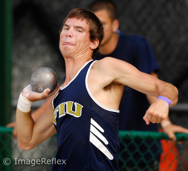 FIU's Ryan Heberling competes in the shot put at the Miami Elite Invitational Track Meet at Cobb Stadium, Coral Gables, Florida on Saturday, April 14, 2007.