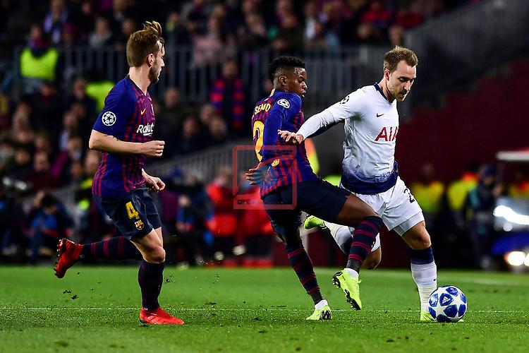 UEFA Champions League 2018/2019 - Matchday 6.<br /> FC Barcelona vs Tottenham Hotspur FC: 1-1.<br /> Semedo vs Eriksen.