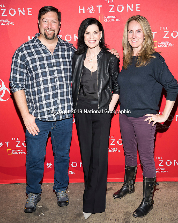 """NEW YORK - MAY 23: Brian Peterson, Julianna Margulies and Kelly Souders attends an FYC event for National Geographic's """"The Hot Zone"""" at Metrograph on May 23, 2019 in New York City. (Photo by Ben Hider/National Geographic/PictureGroup)"""