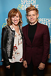 Kate Wetherhead and Andrew Keenan Bolge attends Broadway Red Carpet Premiere of 'Speech & Debate'  at the American Airlines Theatre on April 2, 2017 in New York City.