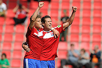 FUSSBALL   DFB POKAL   SAISON 2011/2012  1. Hauptrunde SpVgg Unterhaching - SC Freiburg             31.07.2011 JUBEL Florian Niederlechner, Mijo Tunjic (v.li., Unterhaching)