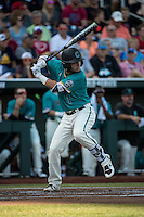 Michael Paez #1 of the Coastal Carolina Chanticleers bats during a College World Series Finals game between the Coastal Carolina Chanticleers and Arizona Wildcats at TD Ameritrade Park on June 27, 2016 in Omaha, Nebraska. (Brace Hemmelgarn/Four Seam Images)