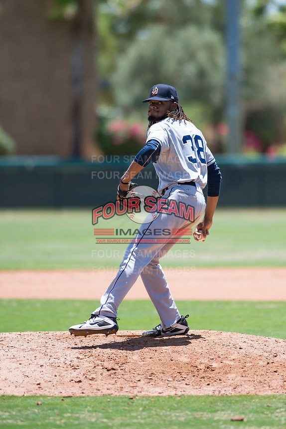 AZL Padres 2 relief pitcher Vijay Miller (38) delivers a pitch during an Arizona League game against the AZL Dodgers at Camelback Ranch on July 4, 2018 in Glendale, Arizona. The AZL Dodgers defeated the AZL Padres 2 9-8. (Zachary Lucy/Four Seam Images)