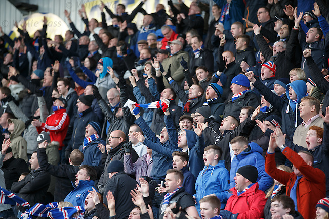 Rangers fans celebrate the win