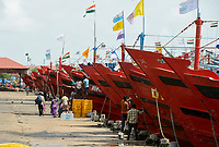 INDIA, Karnataka, Mangaluru, former name Mangalore, trawler in fishing port during monsoon