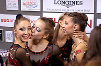 September 24, 2003; Budapest, Hungary; (L-R) ELIZABETH PAISIEVA, SYLVIA MITEVA, ZORNITSA MARINOVA of Bulgaria celebrate qualifying for team final at 2003 World Championships.
