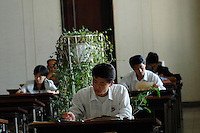 "Inside the People's Palace of Education, Pyongyang, North Korea. The ""Palace"" is the library and place of learning for privileged North Koreans."