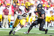 College Park, MD - October 15, 2016: Minnesota Golden Gophers wide receiver Melvin Holland Jr. (5) runs after catching a pass during game between Minnesota and Maryland at  Capital One Field at Maryland Stadium in College Park, MD.  (Photo by Elliott Brown/Media Images International)