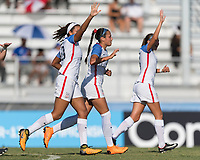 Bradenton, FL - Sunday, June 10, 2018: USA, goal celebration prior to a U-17 Women's Championship match between the United States and Haiti at IMG Academy.  USA defeated Haiti 3-2 to advance to the finals.