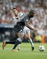 Real Madrid's Angel Di Maria against Manchester City's Yaya Toure during Champions League match. September 18, 2012. (ALTERPHOTOS/Alvaro Hernandez). /NortePhoto.com<br /> <br /> **CREDITO*OBLIGATORIO** *No*Venta*A*Terceros*<br /> *No*Sale*So*third* ***No*Se*Permite*Hacer Archivo***No*Sale*So*third<br /> <br /> <br /> **CREDITO*OBLIGATORIO** *No*Venta*A*Terceros*<br /> *No*Sale*So*third* ***No*Se*Permite*Hacer Archivo***No*Sale*So*third