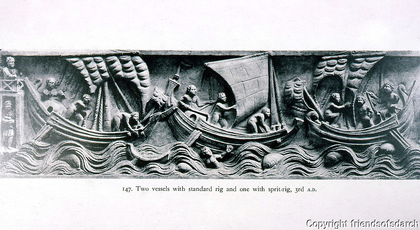 Ancient Ships:  2 Roman vessels with standard rig,  1 with sprit-rig.  Sarcophagus (3rd century).