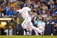 Milwaukee Brewers first baseman Yuniesky Betancourt #3 during a game against the Minnesota Twins at Miller Park on May 27, 2013 in Milwaukee, Wisconsin.  Minnesota defeated Milwaukee 6-3.  (Mike Janes/Four Seam Images)
