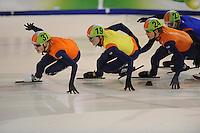 SHORTTRACK: AMSTERDAM: Jaap Edenhal, 04-01-2015, KPN NK Shorttrack, 3000 m Super Finale, Tjerk de Boer (#37), Adwin Snellink (#19), Koen Hakkenberg (#24), ©foto Martin de Jong