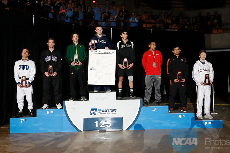LA CROSSE, WI - MARCH 11: The 125 weight class during NCAA Division III Men's Wrestling Championship held at the La Crosse Center on March 11, 2017 in La Crosse, Wisconsin. Pike beat Albis with a fall to win the National Championship. (Photo by Carlos Gonzalez/NCAA Photos via Getty Images)