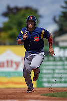 State College Spikes catcher Jose Godoy (35) running the bases during a game against the Batavia Muckdogs August 23, 2015 at Dwyer Stadium in Batavia, New York.  State College defeated Batavia 8-2.  (Mike Janes/Four Seam Images)
