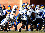 BROOKINGS, SD - NOVEMBER 9:  Charles Elmore #29 from South Dakota State University blocks the field goal attempt by Eric Heidorn #98 from Indiana State University Saturday at Coughlin Alumni Stadium. (Photo by Dave Eggen/Inertia)