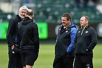 Bath Director of Rugby Todd Blackadder, and first team coaches Girvan Dempsey, Toby Booth and Darren Edwards prior to the match. Gallagher Premiership match, between Bath Rugby and Wasps on May 5, 2019 at the Recreation Ground in Bath, England. Photo by: Patrick Khachfe / Onside Images