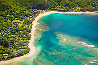 Haena Point, Tunnels Beach, Haena Beach Park, and coral reef, North Shore, Kauai, Hawaii, USA, Pacific Ocean