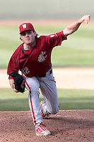 Spencer Jackson #22 of the Washington State Cougars pitches against the UCLA Bruins at Jackie Robinson Stadium on March 24, 2012 in Los Angeles,California. UCLA defeated Washington 12-3.(Larry Goren/Four Seam Images)